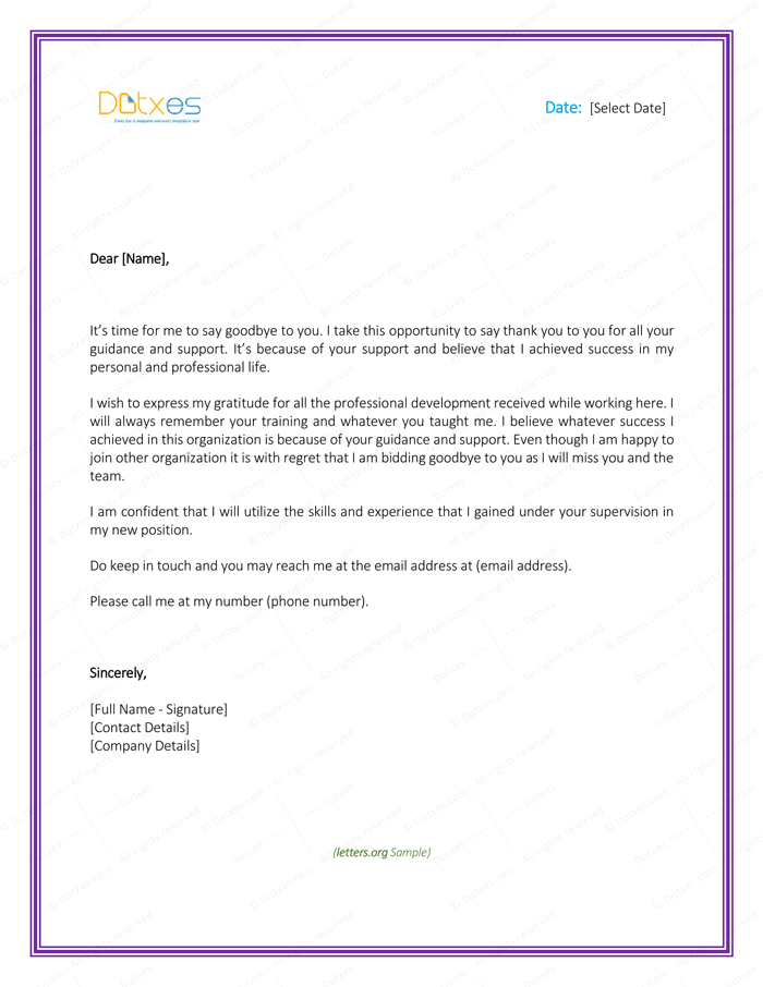 Thank you letter to boss 8 plus best samples and templates appreciation letter to boss farewell expocarfo Images