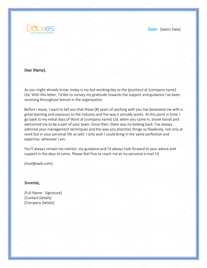Thank you letter to boss 8 plus best samples and templates thank you letter to boss after resignation expocarfo