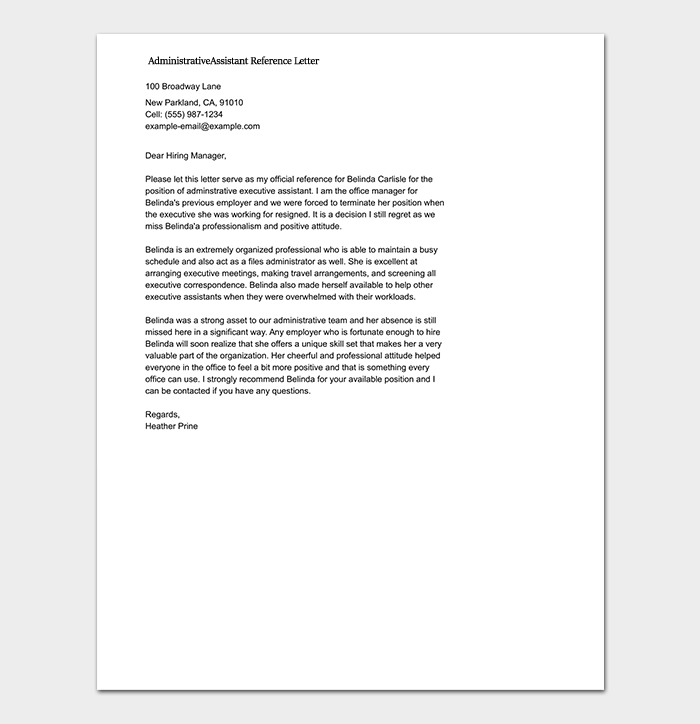 Reference letter template 50 for word pdf format administrative assistant reference letter template expocarfo Image collections