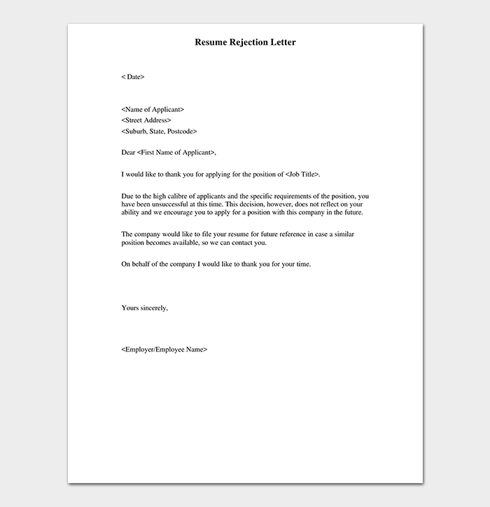 Rejection letter template 38 free samples formats cv rejection letter format spiritdancerdesigns Gallery