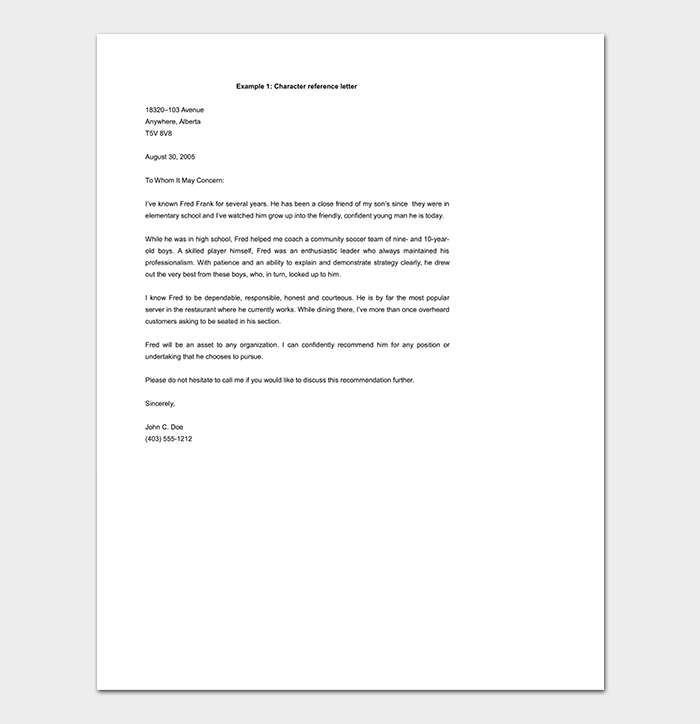 Reference letter template 50 for word pdf format character reference letter template doc spiritdancerdesigns Choice Image