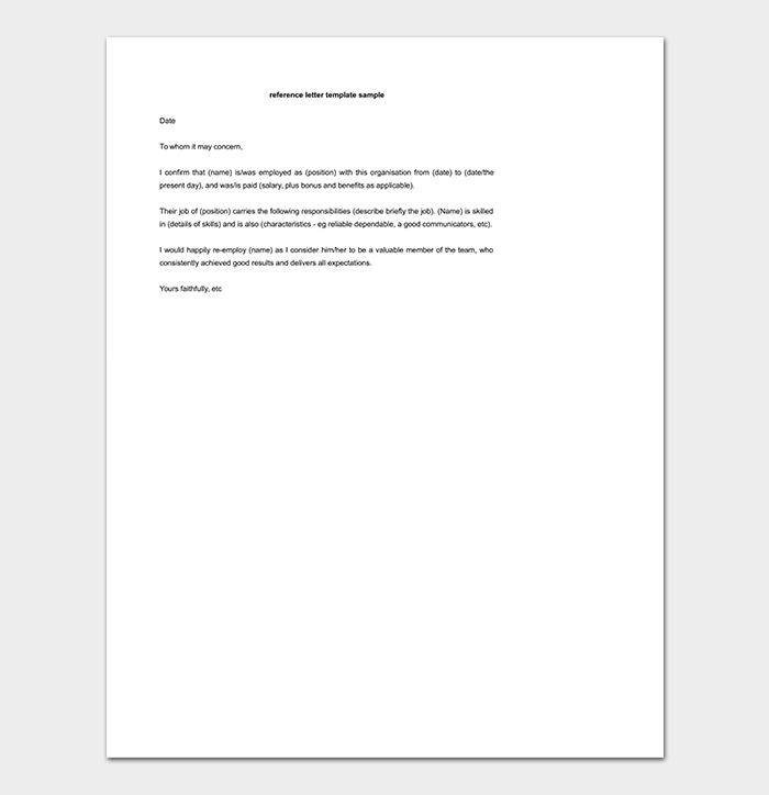 Reference Letter Template - 50+ for Word & PDF Format