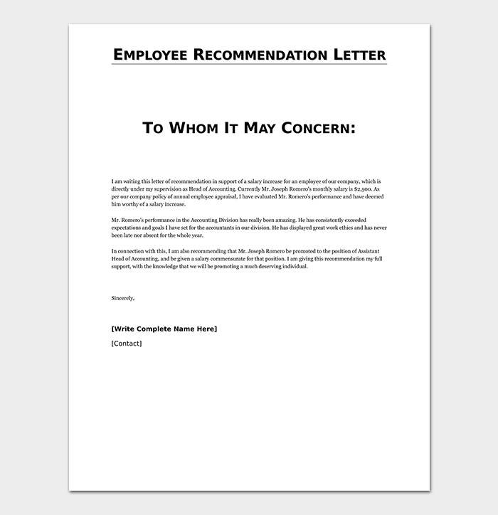 Reference letter template 50 for word pdf format employee reference letter spiritdancerdesigns Images