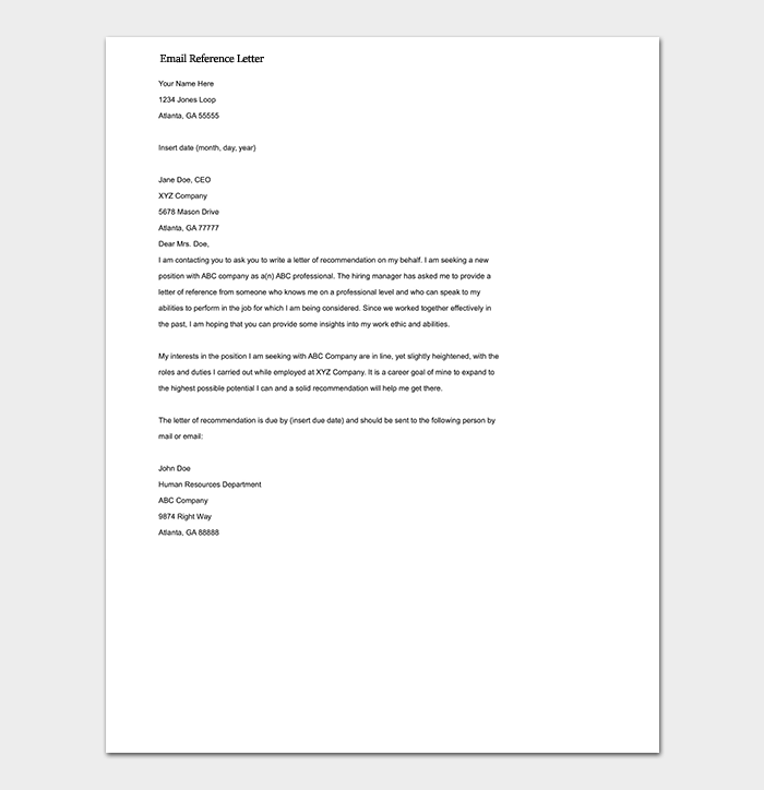 Example Email Reference Letter