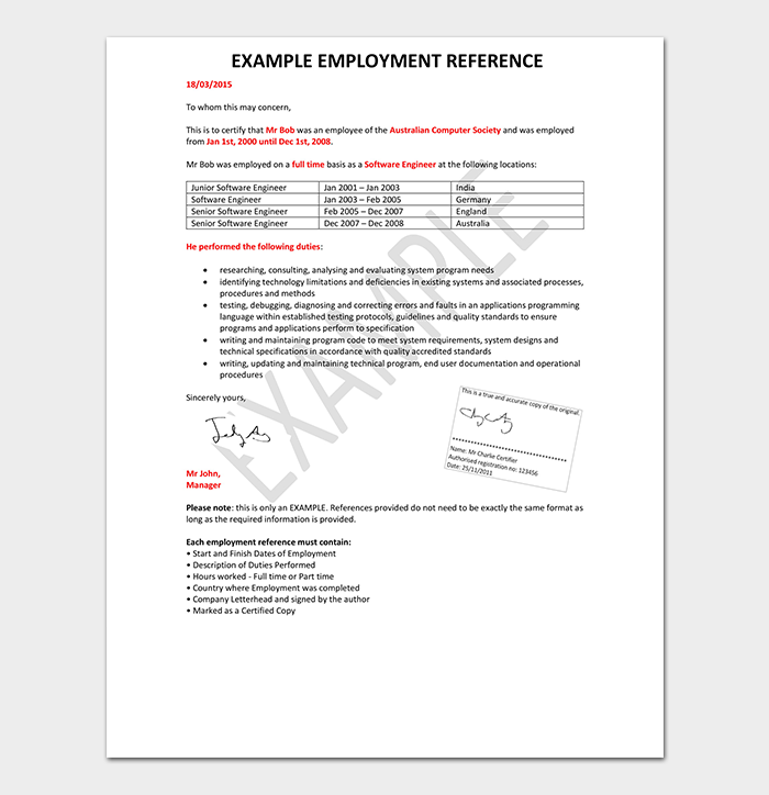 Example Employment Reference Template