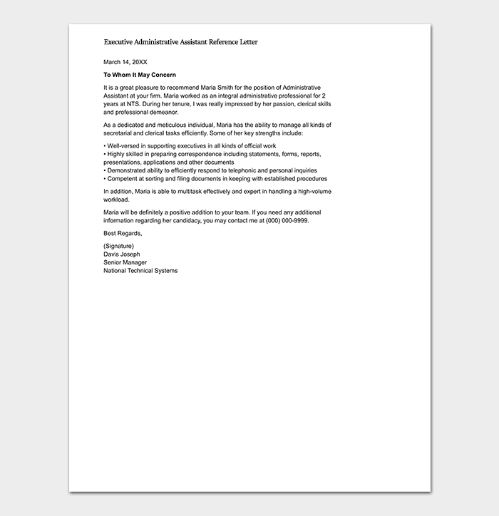 Executive Administrative Assistant Reference Letter