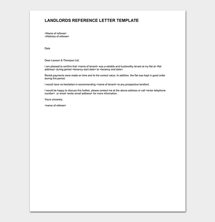 Landlords Reference Letter Template
