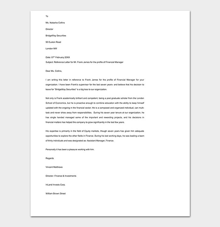 Reference Letter Template 50 For Word Amp Pdf Format