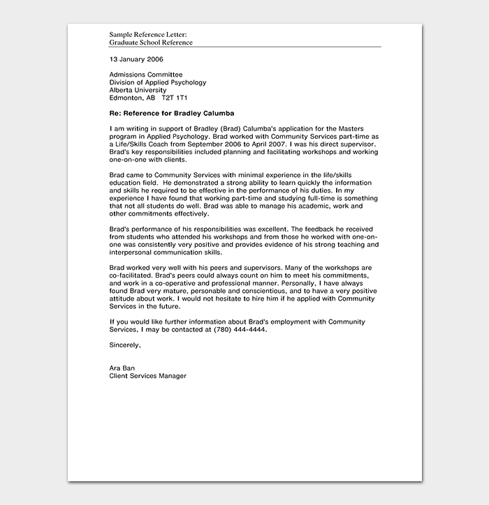 Reference letter template 50 for word pdf format reference letter template pdf spiritdancerdesigns Images