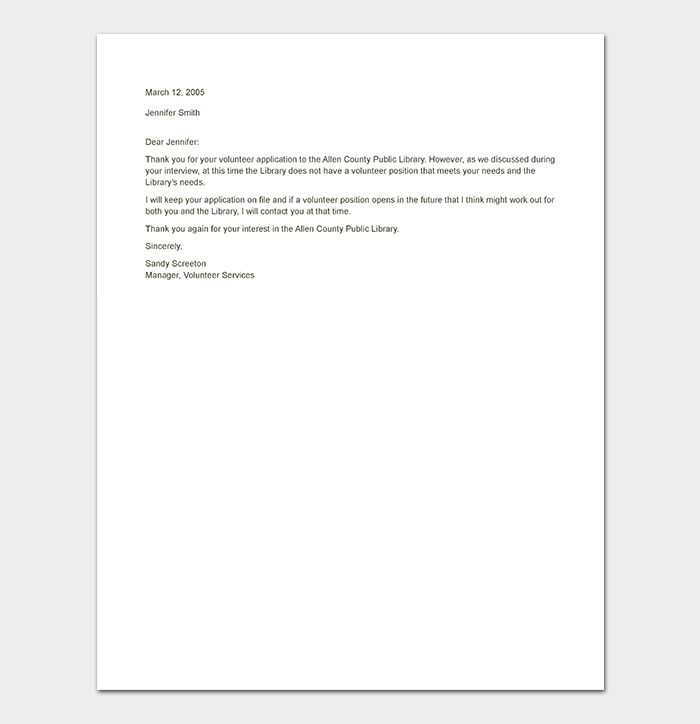 Rejection Letter Template 38 Free Samples Amp Formats