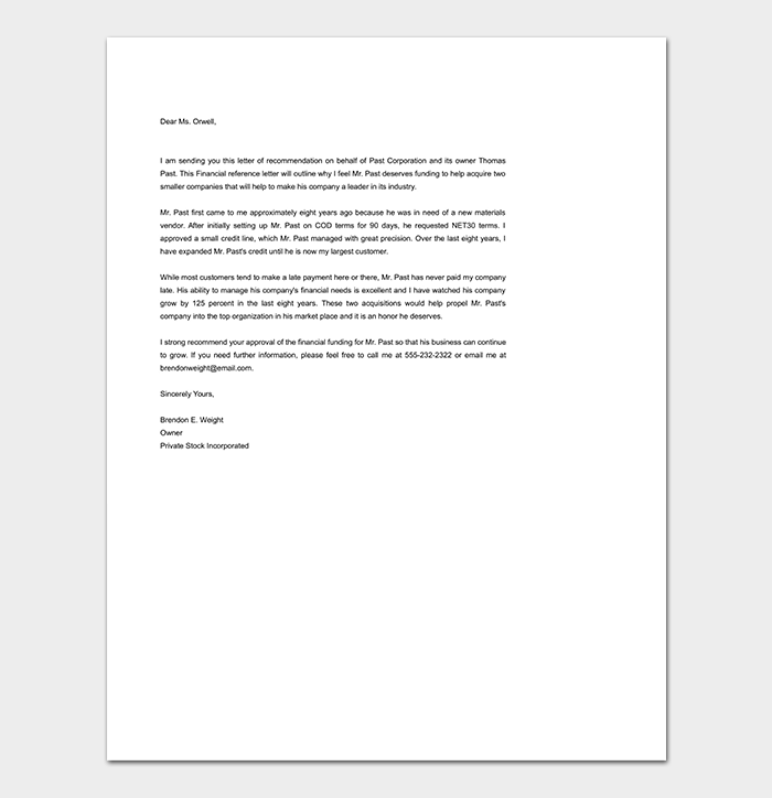 Reference letter template 50 for word pdf format simple financial reference letter expocarfo