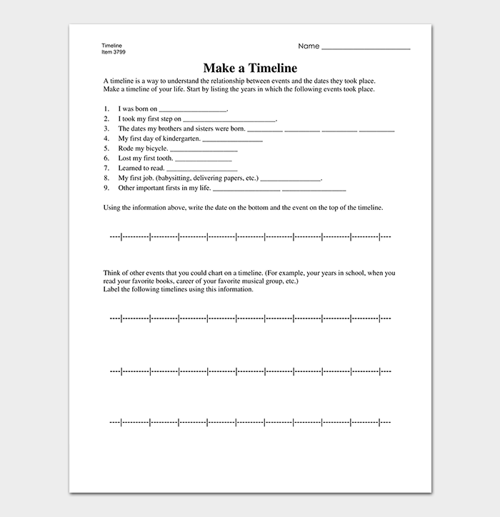 Biography Timeline Template for Kids
