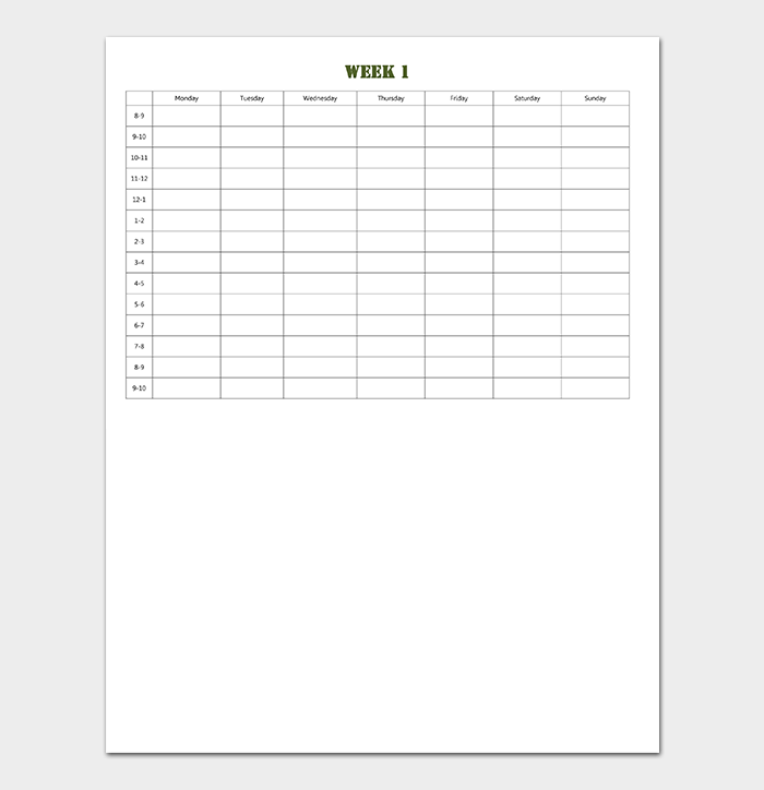 Blank Production Timeline Template for Study Schedule
