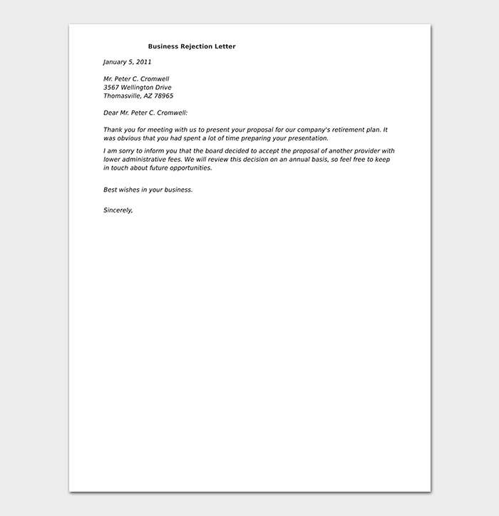Formal rejection letter 10 sample letters dotxes formal business rejection letter thecheapjerseys