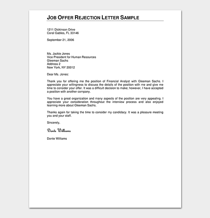 Formal rejection letter 10 sample letters dotxes formal job offer rejection altavistaventures Images
