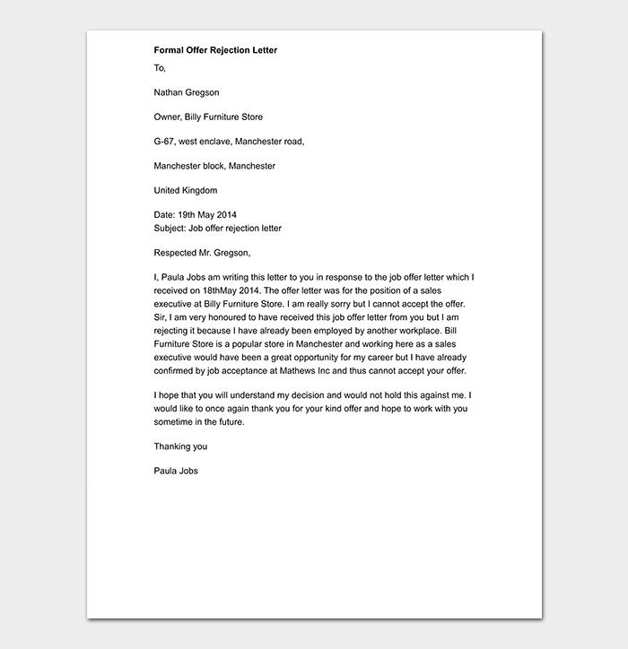 Formal Offer Rejection Letter