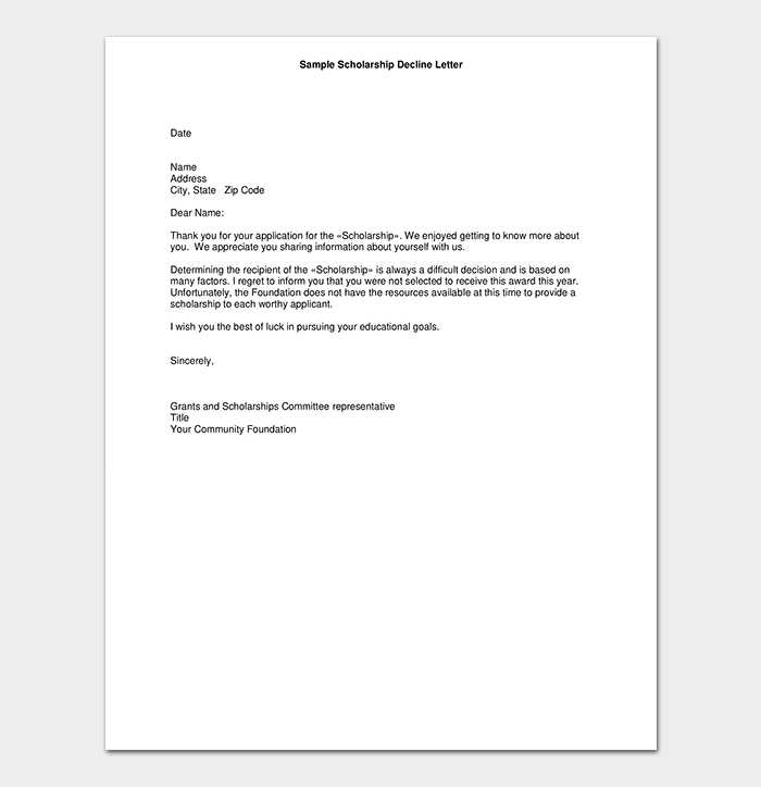 Grant Application Rejection