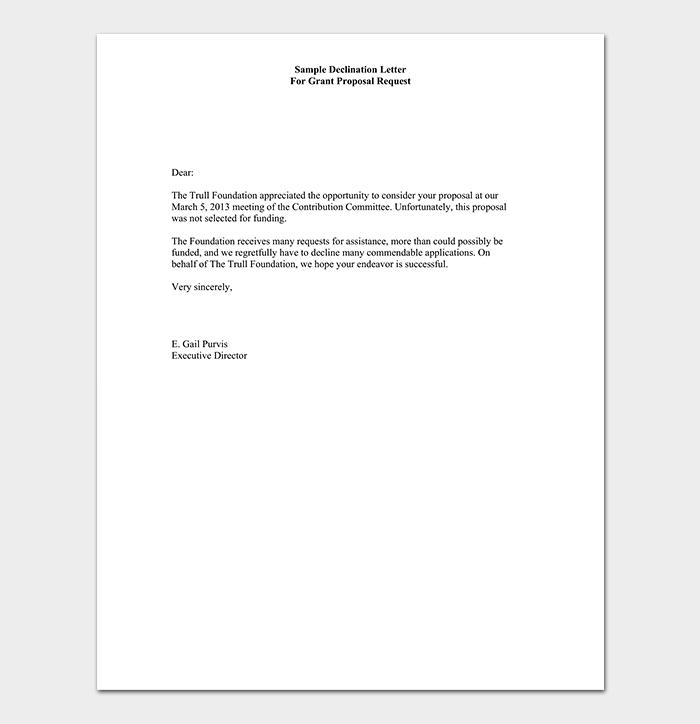 Grant Proposal Rejection Letter