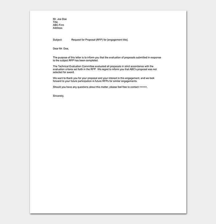 Grant Rejection Email