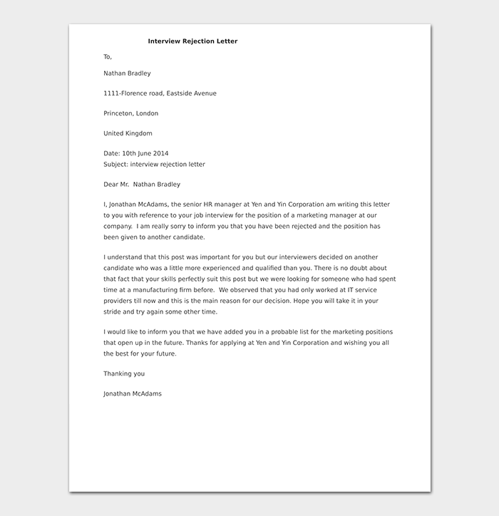Interview Rejection Letter