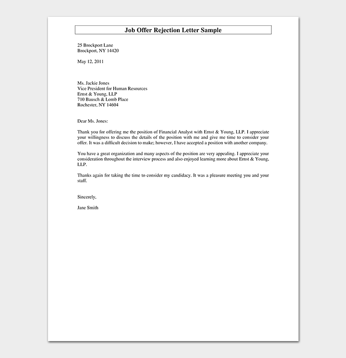 Formal Rejection Letter 10 Sample Letters Dotxes