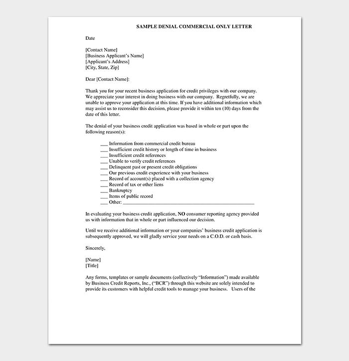 Polite Business Application Rejection
