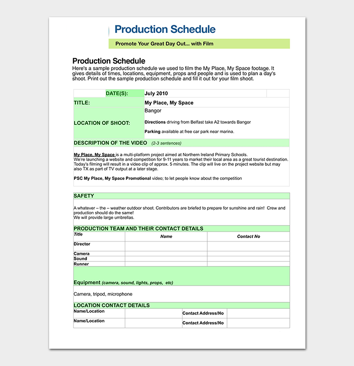 Production Timeline Schedule PDF