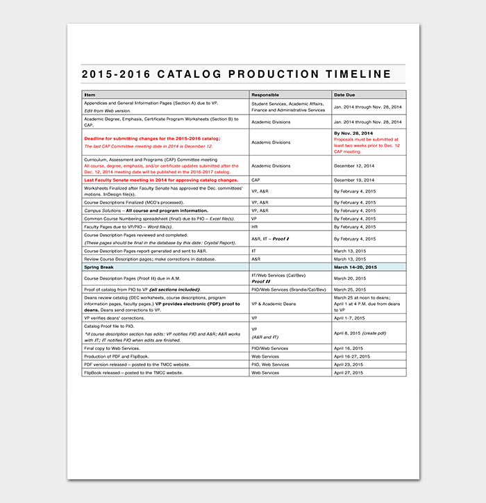 Schedule Template for Catalog Production