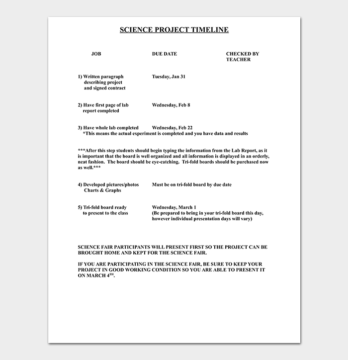 Science Project Timeline