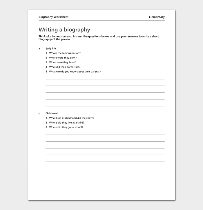 Writing Biography Timeline Template