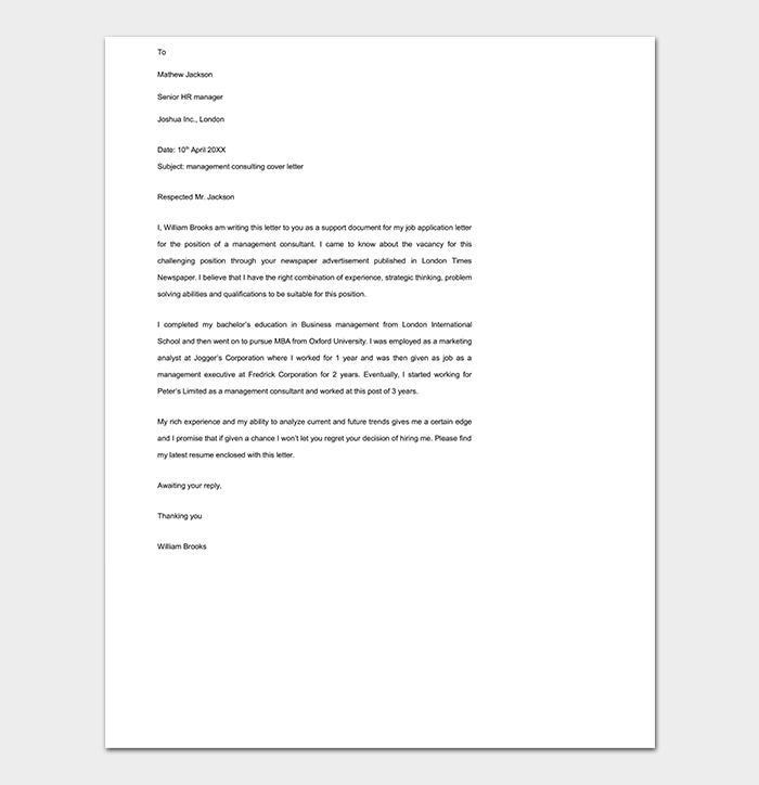 Cover Letter Template 45 Formats Samples Examples